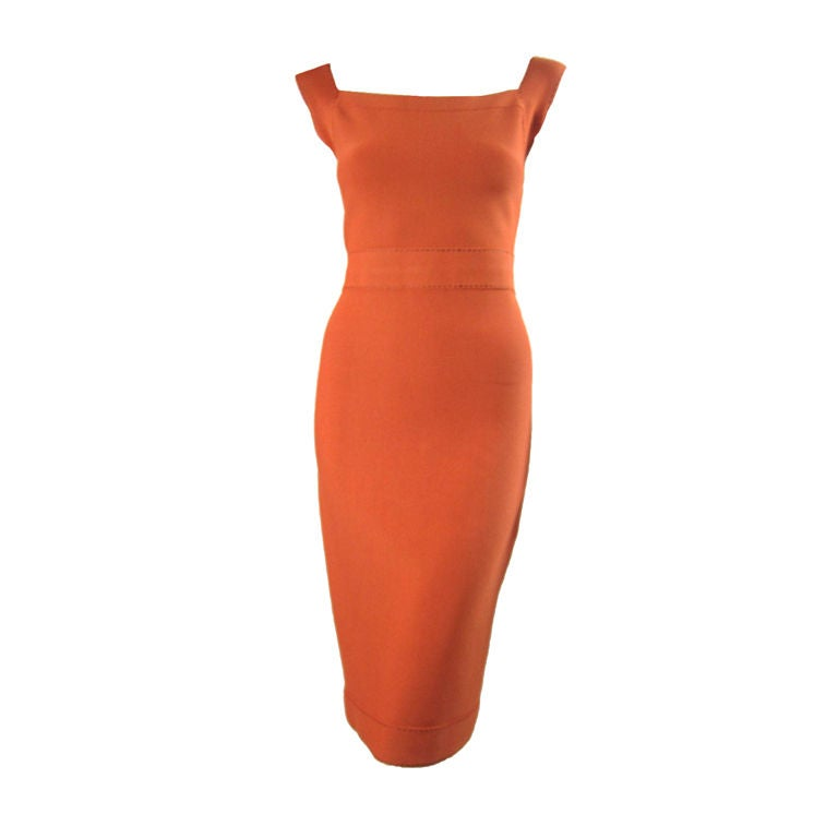 Herve Leger Tangerine Dress with Brown Ticking 1