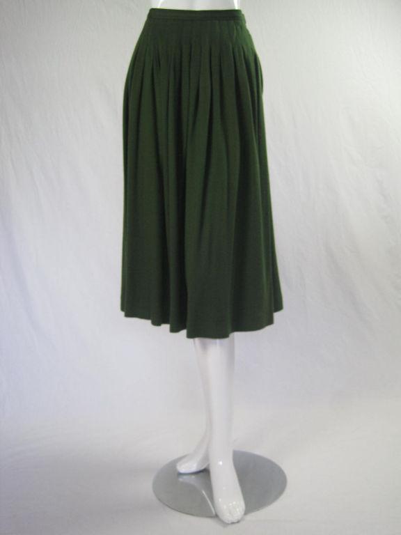 Yves Saint Laurent Moss Green Pleated Skirt 2