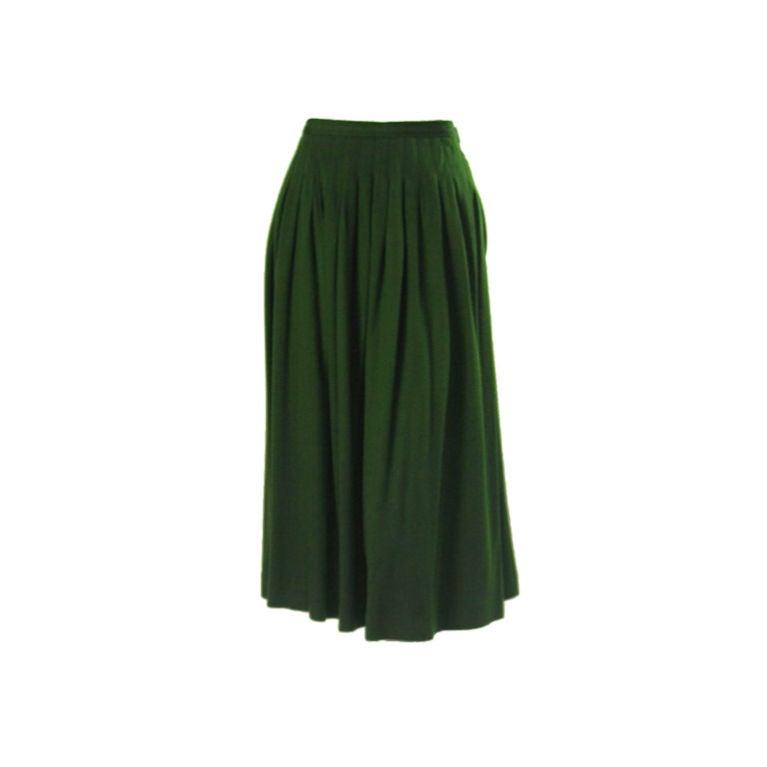 Yves Saint Laurent Moss Green Pleated Skirt 1