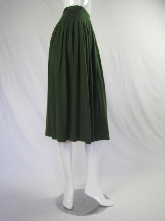 Yves Saint Laurent Moss Green Pleated Skirt 3