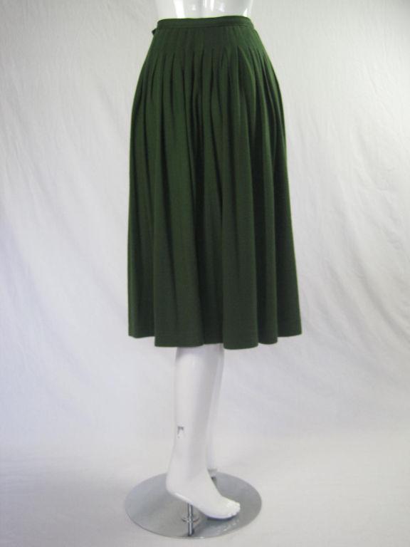 Yves Saint Laurent Moss Green Pleated Skirt 4
