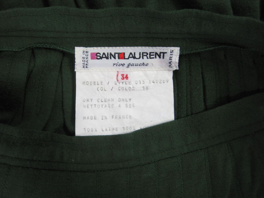 Yves Saint Laurent Moss Green Pleated Skirt 5