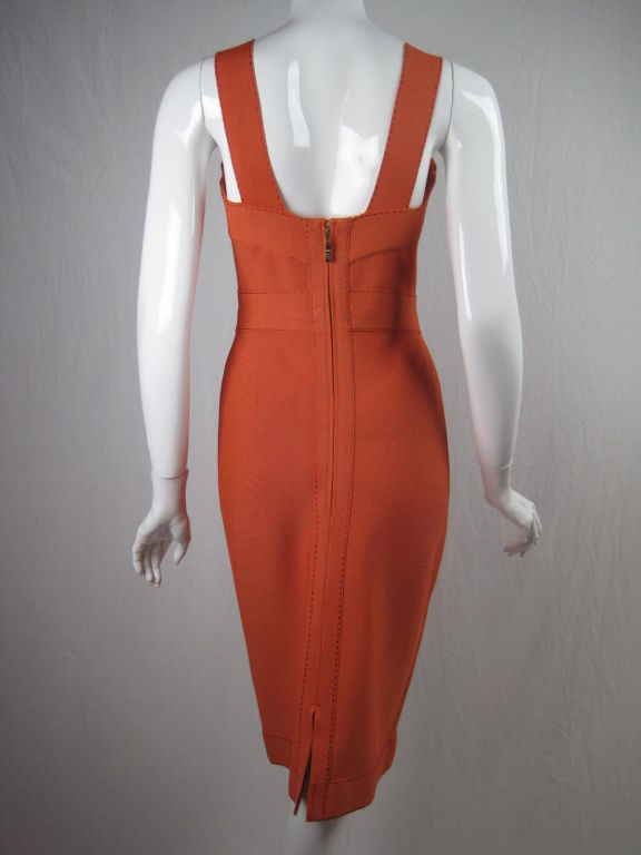 Herve Leger Tangerine Dress with Brown Ticking 2