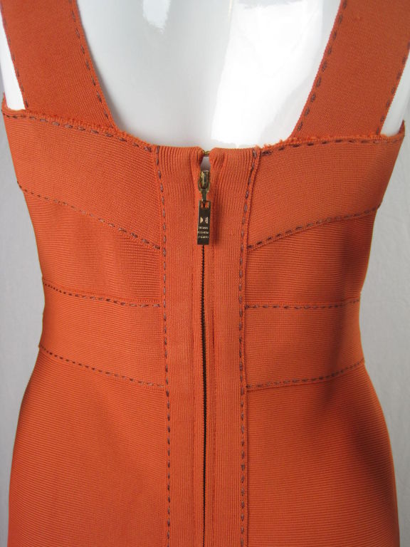 Herve Leger Tangerine Dress with Brown Ticking 3