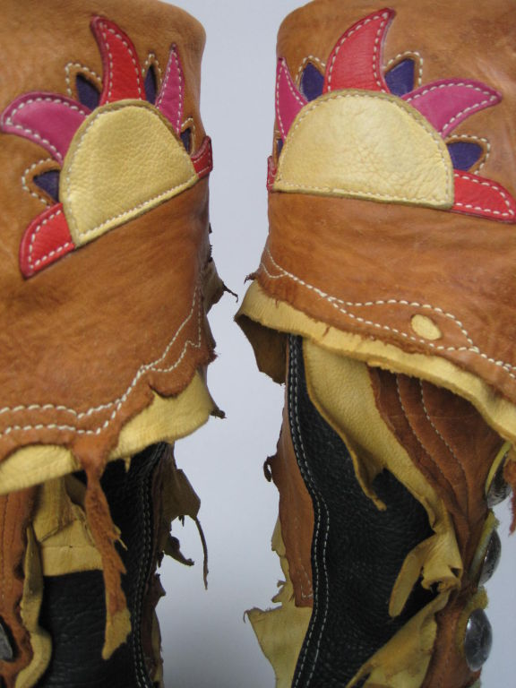 Custom Bald Mountain Bison Skin Moccasins with Amazing Detail 6