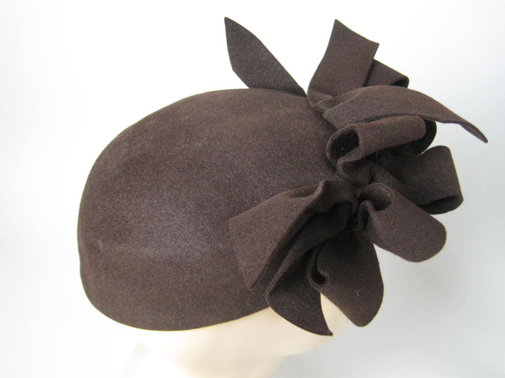 1930's Brown Felt Hat with Looped Detail-SALE! 2