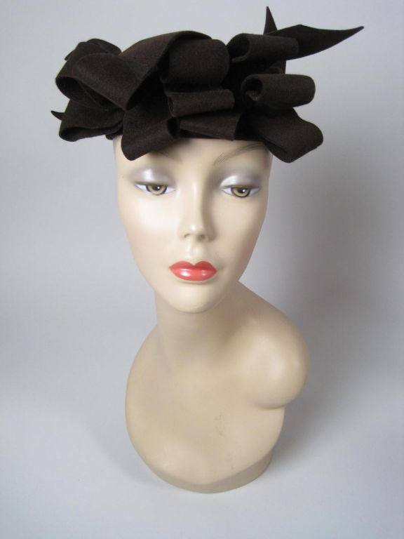 1930's Brown Felt Hat with Looped Detail-SALE! 3