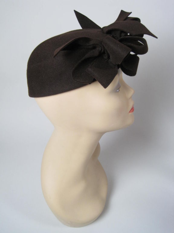 1930's Brown Felt Hat with Looped Detail-SALE! 4