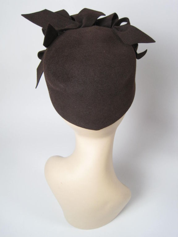 1930's Brown Felt Hat with Looped Detail-SALE! 5