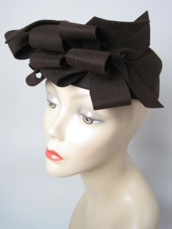 1930's Brown Felt Hat with Looped Detail-SALE! 6