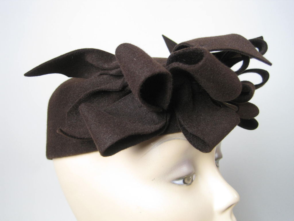 1930's Brown Felt Hat with Looped Detail-SALE! 7