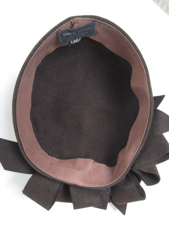 1930's Brown Felt Hat with Looped Detail-SALE! 8