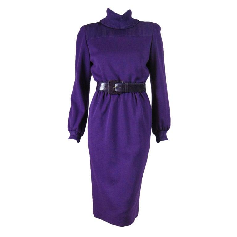 Bill Blass Purple Knit Dress with Snakeskin Belt