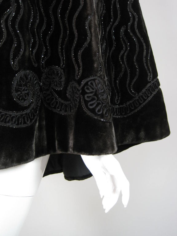 Victorian Chocolate Velvet Beaded Cape For Sale 1