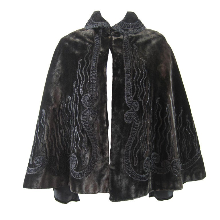 Victorian Chocolate Velvet Beaded Cape For Sale