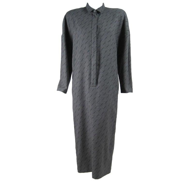 1980's Krizia Gray Wool Dress For Sale