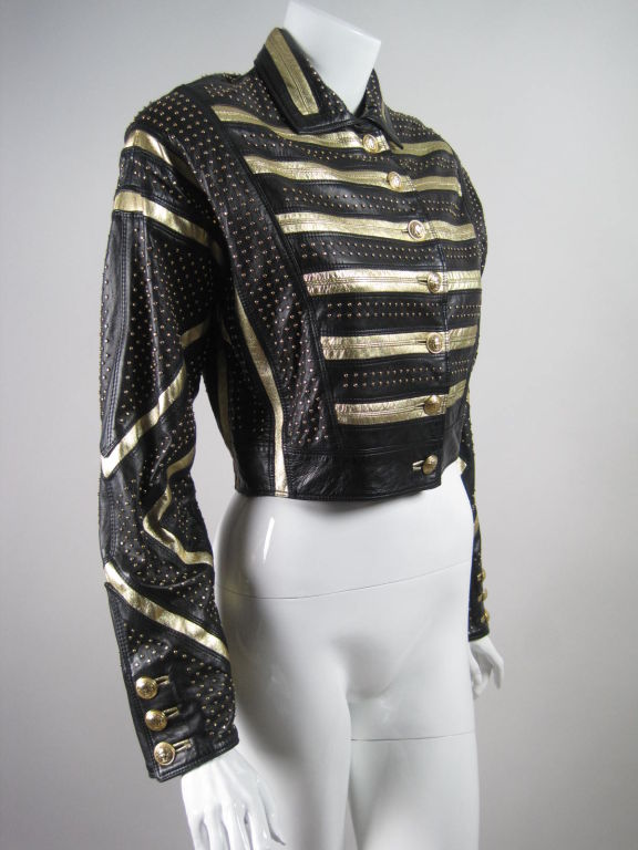 b9764253e Versace Gold Studded Leather Jacket - Cairoamani.com