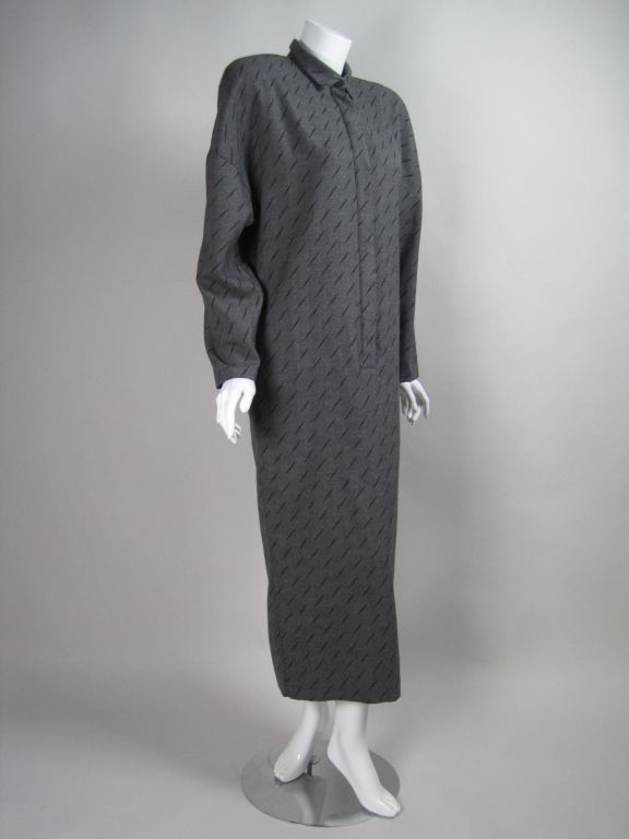Black 1980's Krizia Gray Wool Dress For Sale