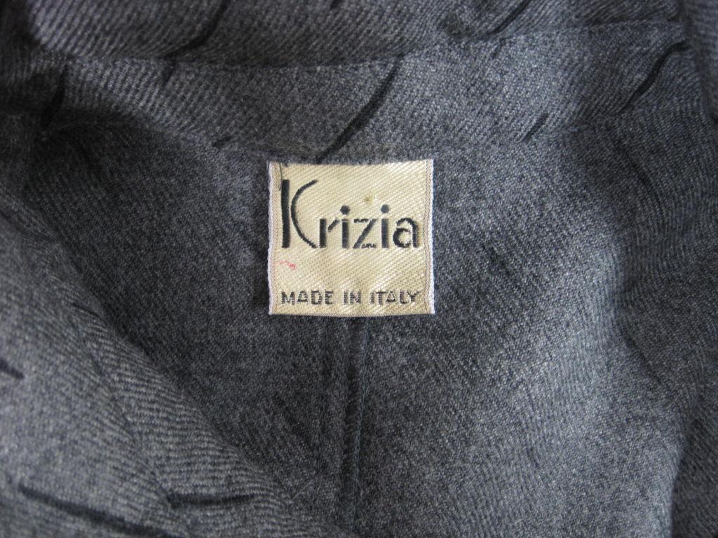 1980's Krizia Gray Wool Dress For Sale 2