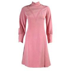 1960's Galanos Bubblegum Pink Dress