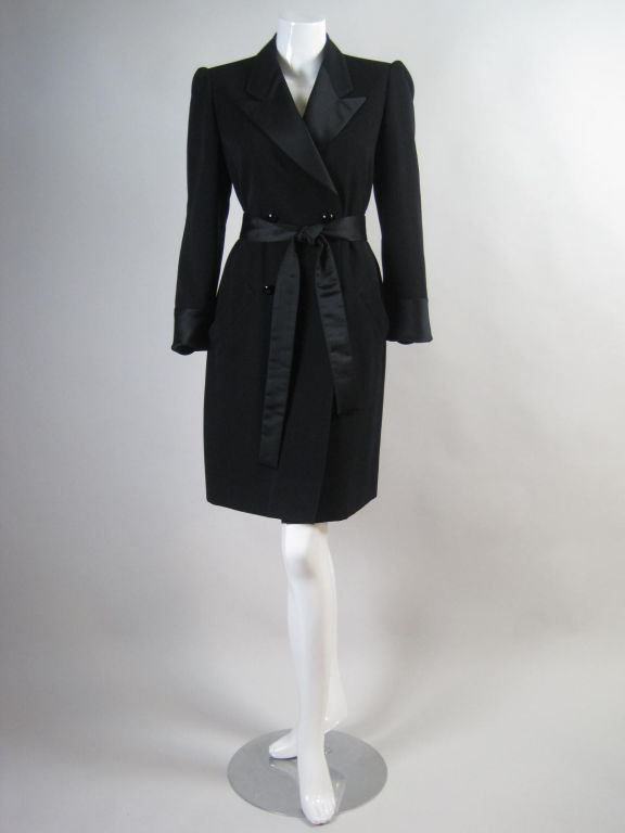 Yves Saint Laurent Tuxedo Dress with Satin Trim 2
