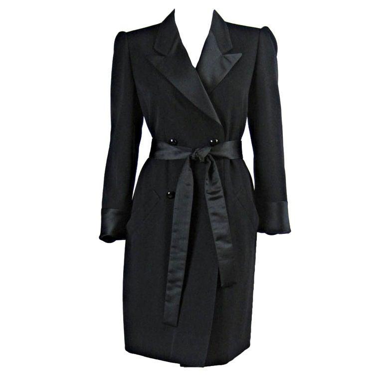 Yves Saint Laurent Tuxedo Dress with Satin Trim 1