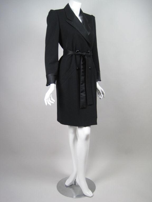Yves Saint Laurent Tuxedo Dress with Satin Trim 3