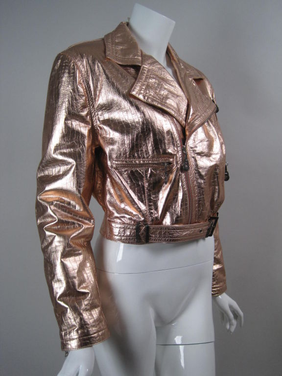 Versace Pink Metallic Leather Bomber Jacket At 1stdibs