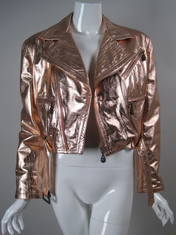 Versace Pink Metallic Leather Bomber Jacket At 1stdibs