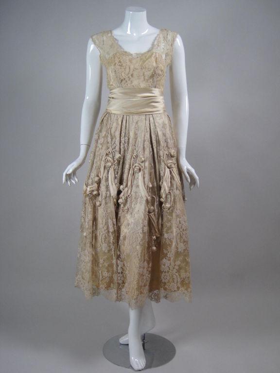 1950's Harvey Berin Chantilly Lace Cocktail Dress 2