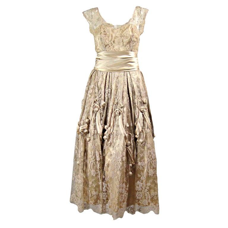 1950's Harvey Berin Chantilly Lace Cocktail Dress 1