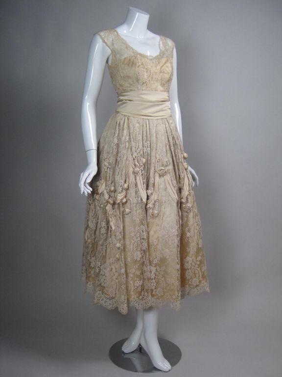 1950's Harvey Berin Chantilly Lace Cocktail Dress 3