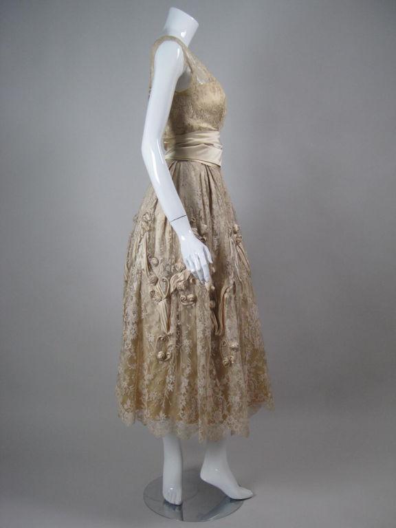1950's Harvey Berin Chantilly Lace Cocktail Dress 4