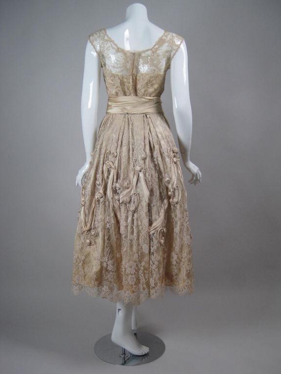 1950's Harvey Berin Chantilly Lace Cocktail Dress 5