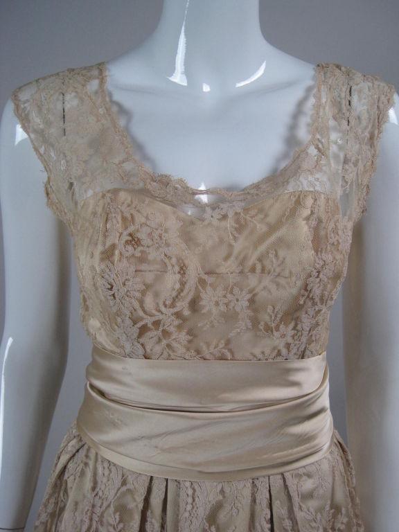 1950's Harvey Berin Chantilly Lace Cocktail Dress 6