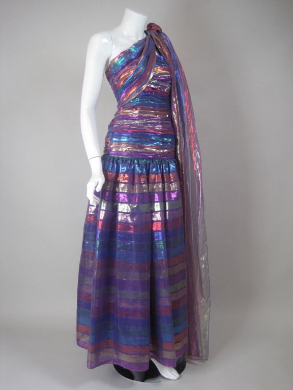 Purple 1980's Victor Costa One-Shouldered Gown For Sale