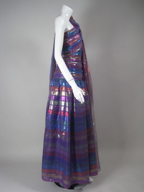 1980's Victor Costa One-Shouldered Gown In Excellent Condition For Sale In Los Angeles, CA