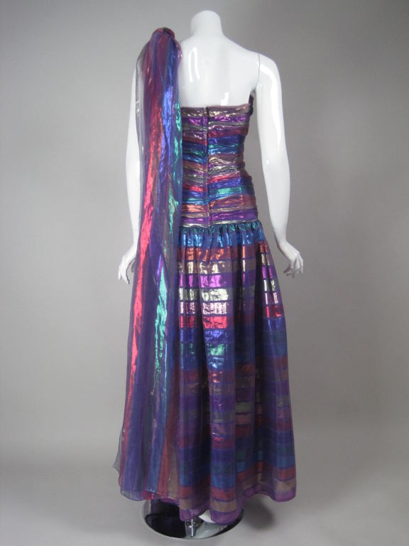 Women's 1980's Victor Costa One-Shouldered Gown For Sale