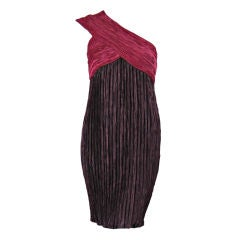 Mary McFadden Couture One-Shouldered Pleated Dress