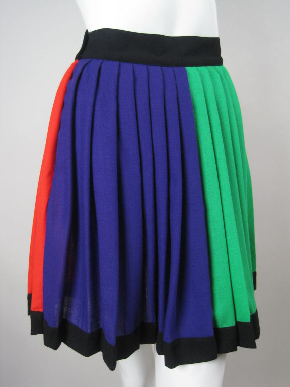 1990's Versace Couture Color Blocked Pleated Skirt 2