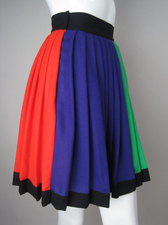 1990's Versace Couture Color Blocked Pleated Skirt 3