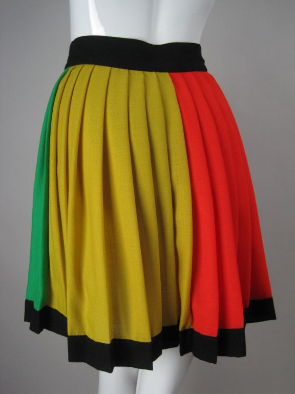 1990's Versace Couture Color Blocked Pleated Skirt 4
