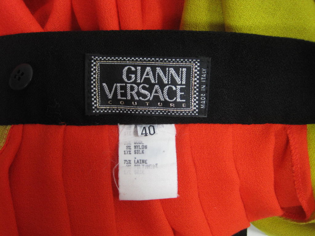 1990's Versace Couture Color Blocked Pleated Skirt 5