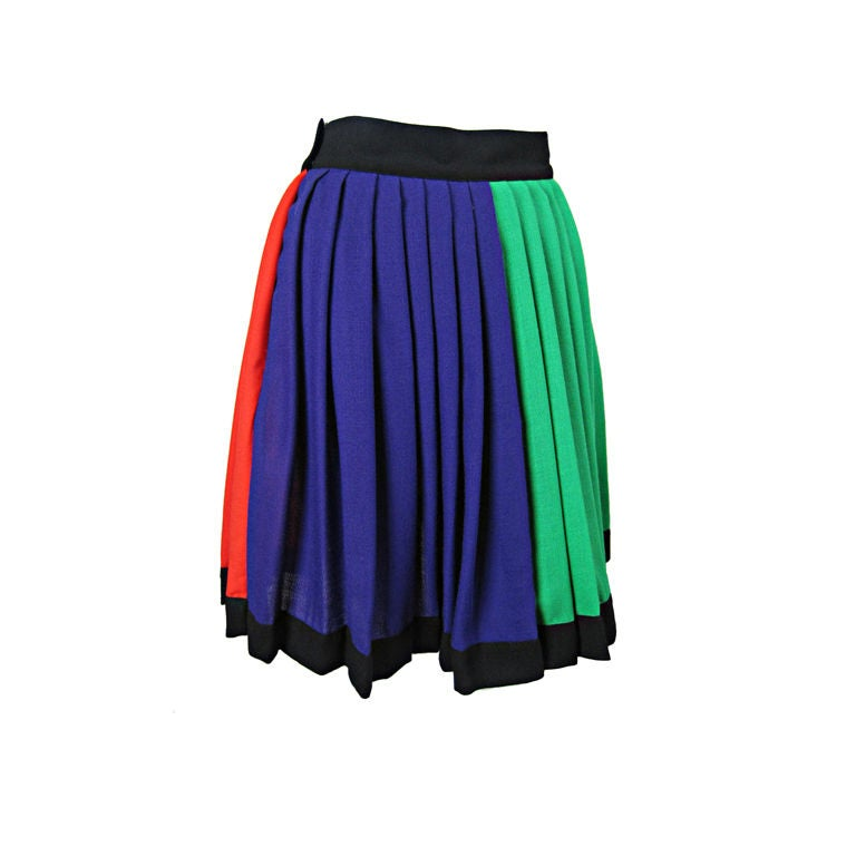 1990's Versace Couture Color Blocked Pleated Skirt 1