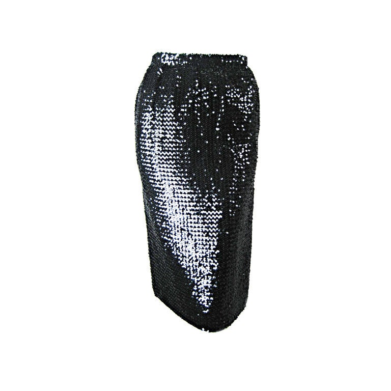 1980 s ungaro black sequined pencil skirt at 1stdibs