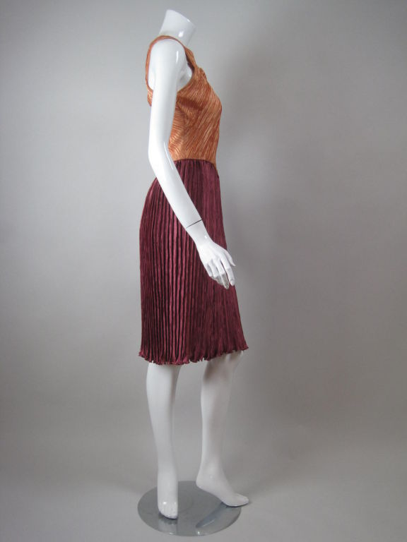 Mary McFadden Couture Dress with Crisscrossed Bodice In Excellent Condition For Sale In Los Angeles, CA