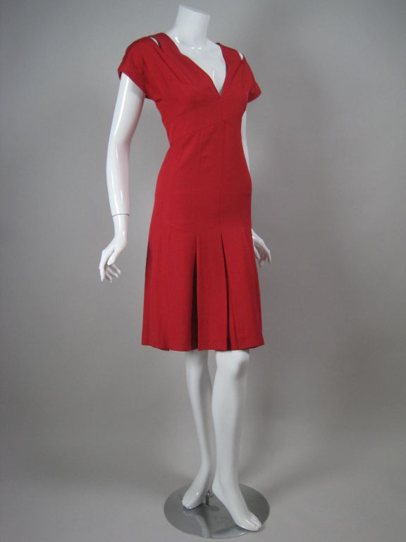 Chanel Boutique Red Silk Dress In Excellent Condition For Sale In Los Angeles, CA