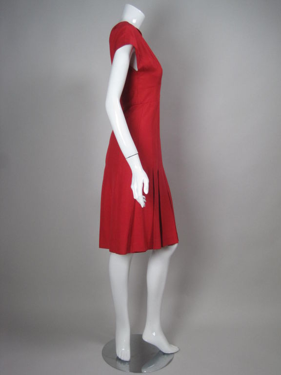 Women's Chanel Boutique Red Silk Dress For Sale