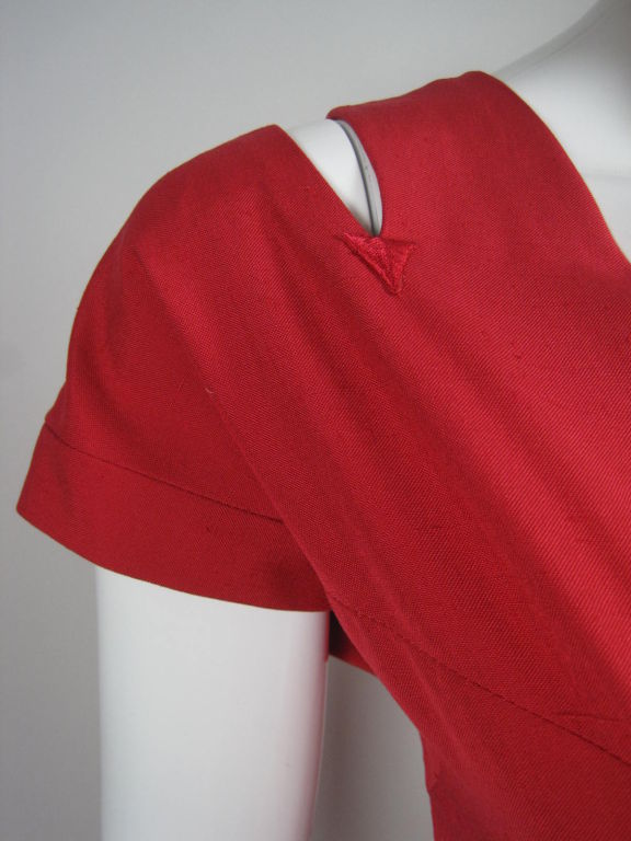 Chanel Boutique Red Silk Dress For Sale 3