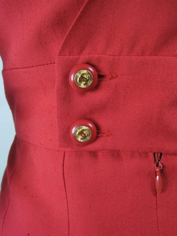 Chanel Boutique Red Silk Dress For Sale 5